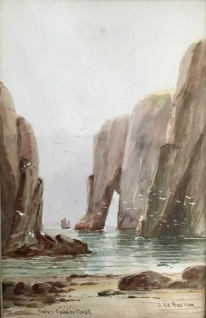 Original antique water colour Cornish coastline