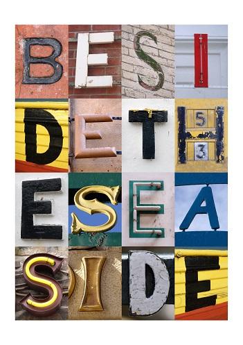 BESIDE THE SEASIDE, FINE ART PRINT, VINTAGE LETTERS, LIMITED EDITION PRINT,ACSII