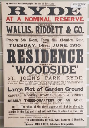 Auction Sale Poster 'Woodside' St John's Park, Ryde