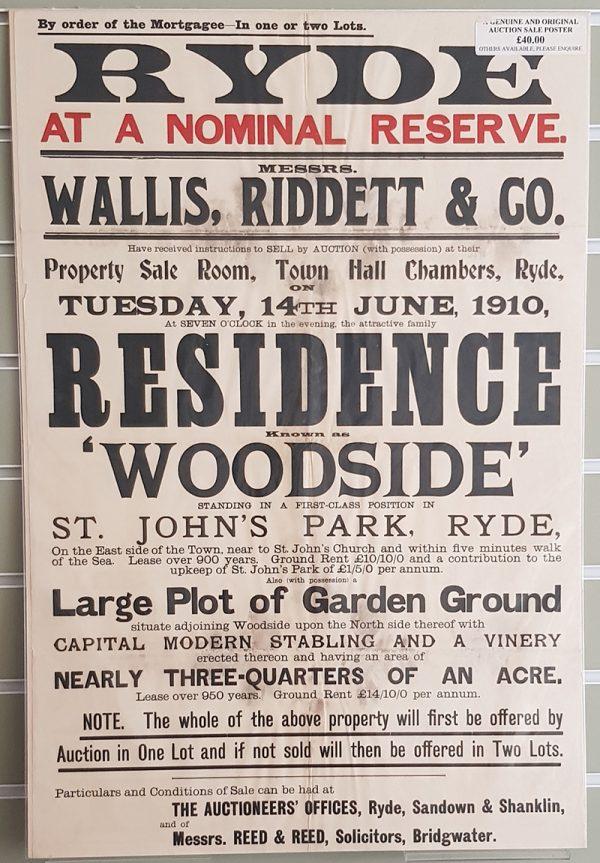 Auction Sale Poster 'Woodside' St John's Park, Ryde