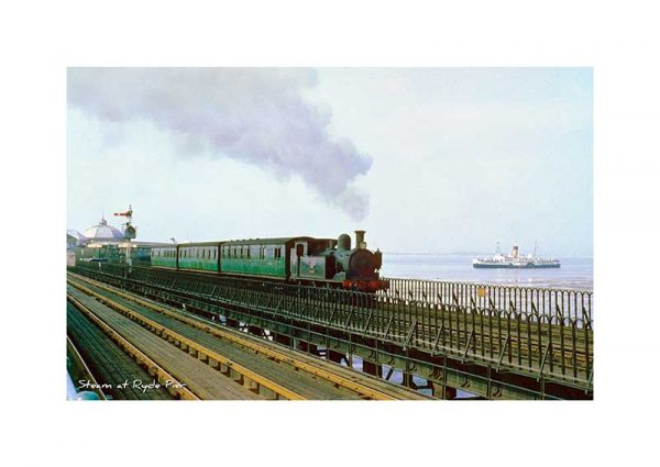 vintage photograph Steam train at Ryde Pier Isle Of Wight