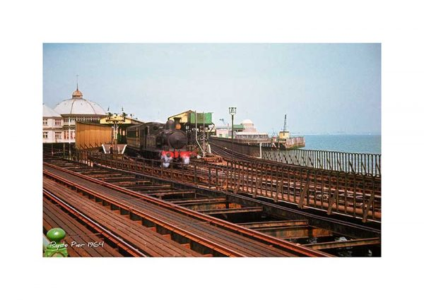 Vintage photograph steam train Ryde Pier Isle of Wight