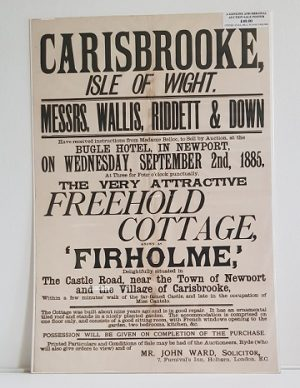 Original Sale Poster Firholme Carisbrooke isle Of Wight
