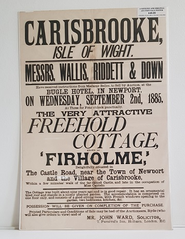 Original Sale Poster Firholme Carisbrooke isle Of Wight