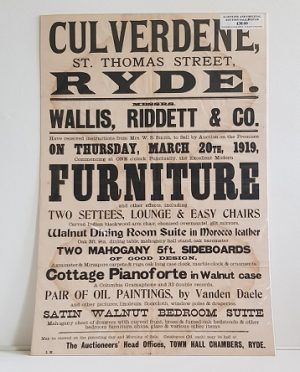 Original Sale Poster Culverdene St Thomas Street Ryde isle Of Wight