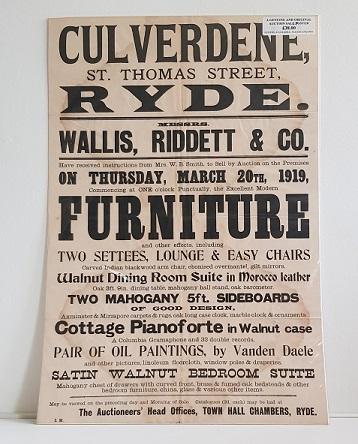 Original Sale Poster Culverdene St Thomas Street Ryde isle Of Wight
