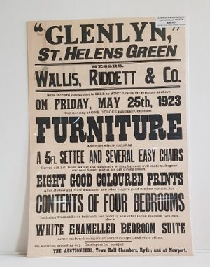 Original Sale Poster Glenlyn St Helens isle Of Wight