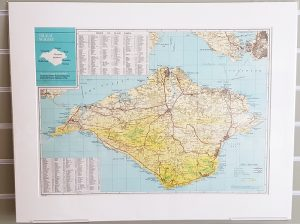 Isle of Wight original vintage map c1972