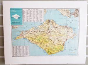 Isle of Wight original vintage map c1972