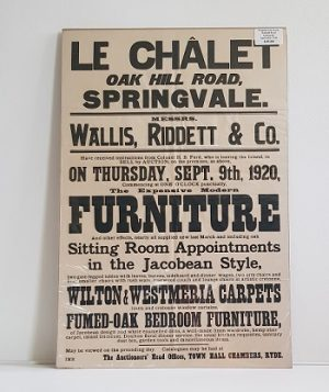 Original Sale Poster Le Chalet Oak Hill Road Springvale isle Of Wight