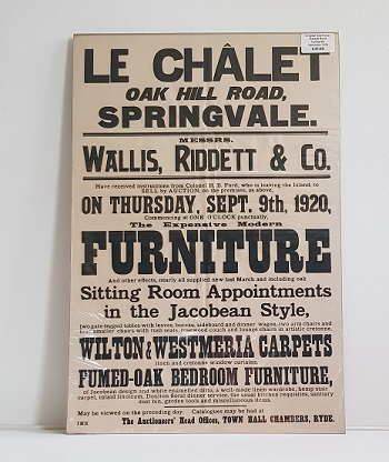 Original Sale Poster Le Chalet Oak Hill Road Springvale isle Of Wight