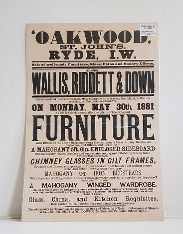 Original Sale Poster Oak Wood St Johns Ryde isle Of Wight