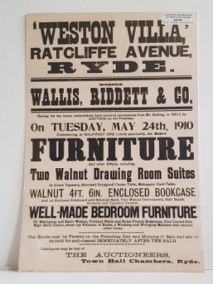 Original Sale Poster Weston Villa Ratcliffe Avenue Ryde isle Of Wight