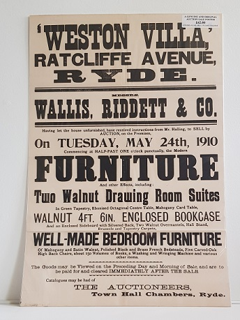 Original Sale Poster Weston Villa Ratcliffe Avenue Ryde isle Of Wight