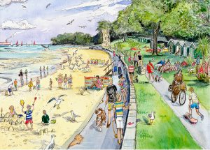 Maria Ward Artist Appley Beach Print Isle Of Wight