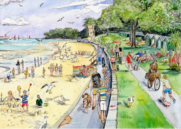 Maria Ward Artist Appley Beach Print Isle Of Wight