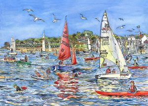 Gurnard sailing Island artist Maria Ward Isle Of wight Limited Edition Print