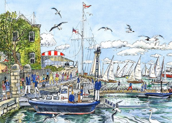 british classics at cowes sailing maria ward island artist isle of wight