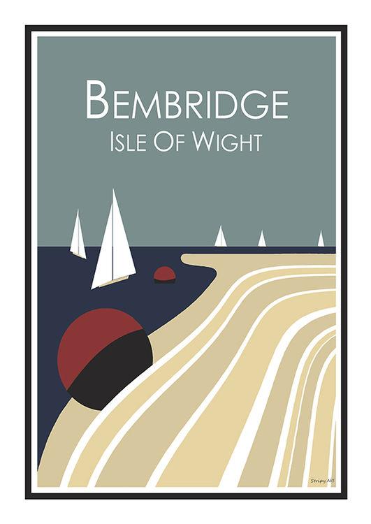 Stripy art Travel poster Bembridge Isle Of Wight Suzanne Whitmarsh