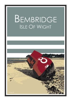 Stripy art Travel poster Bembridge Isle Of Wight Suzanne Whitmarsh