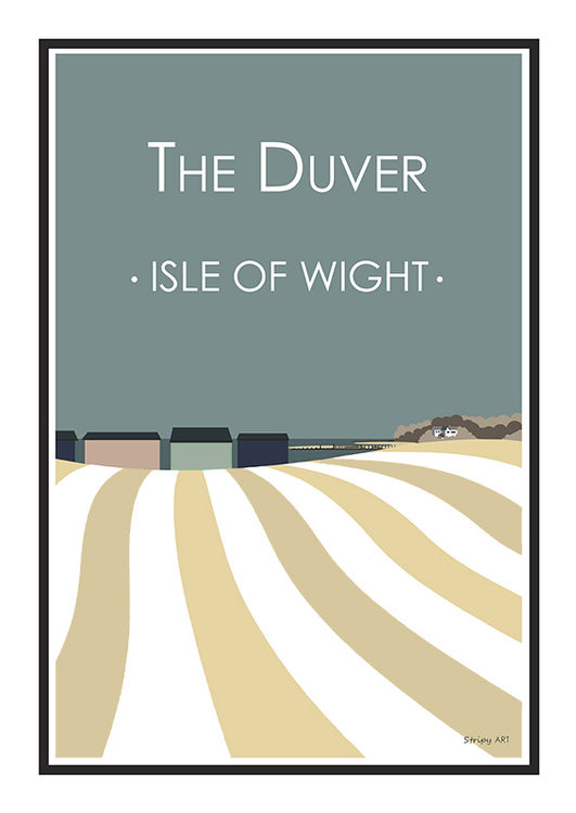 The Duver St Helens beach huts Stripy art Travel poster Isle Of Wight Suzanne Whitmarsh