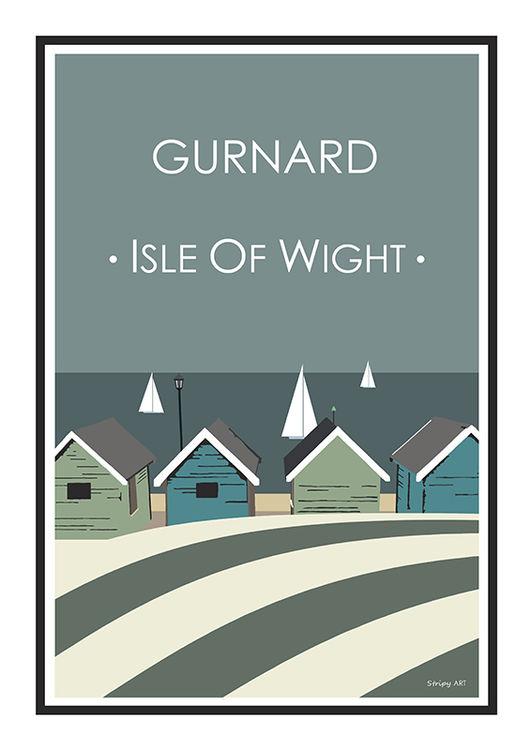 Gurnard Stripy art Travel poster Isle Of Wight Suzanne Whitmarsh