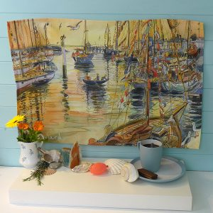 Maria ward island artist gaffers yarmouth teatowel kitchen essentials isle of wight