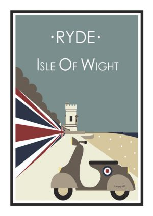 Stripyart Ryde Scooter Poster Appley Isle Of wight Travel Poster