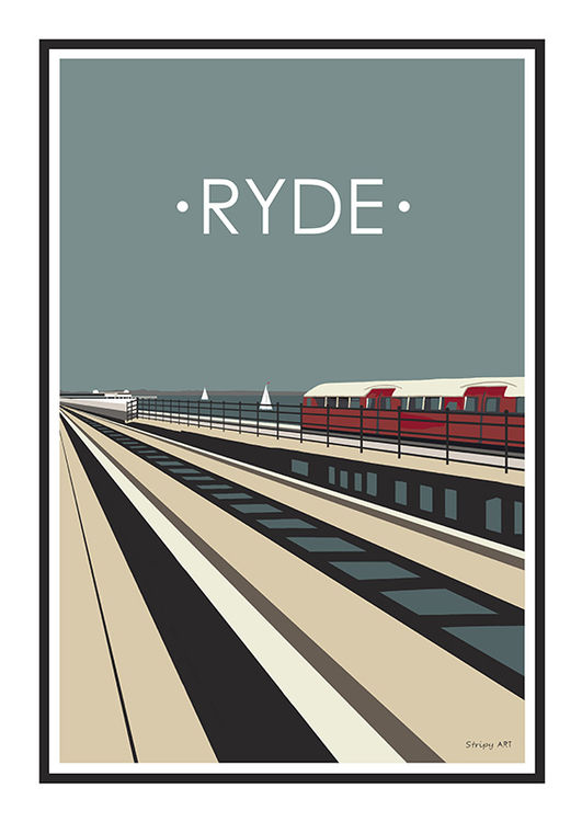 Ryde Pier Train Stripy art Travel poster Isle Of Wight Suzanne Whitmarsh