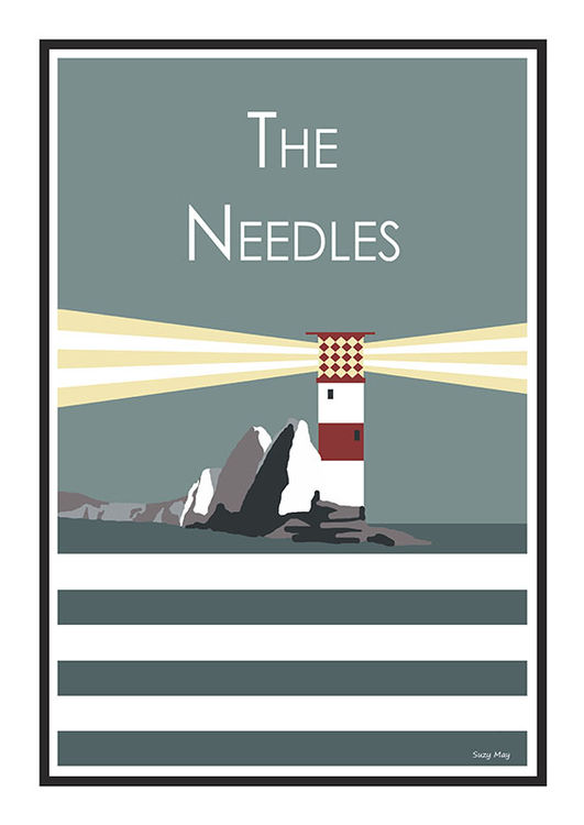 The Needles Stripy art Travel poster Isle Of Wight Suzanne Whitmarsh