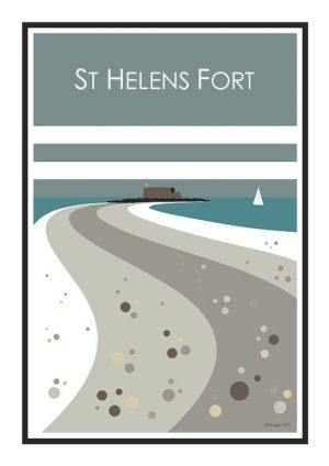 St Helens Fort Stripy art Travel poster Isle Of Wight Suzanne Whitmarsh