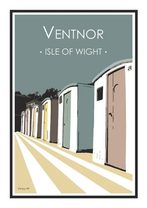 Ventnor Huts Stripy art Travel poster Isle Of Wight Suzanne Whitmarsh