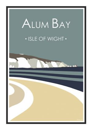 Stripy art Travel poster Alum Bay Isle Of Wight Suzanne Whitmarsh