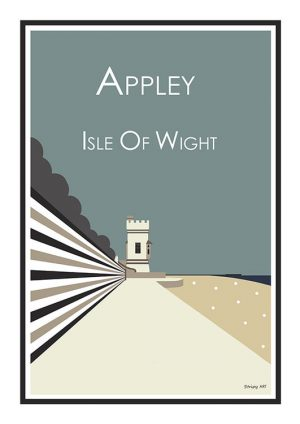 Stripy art Travel poster Appley tower Ryde Isle Of Wight Suzanne Whitmarsh