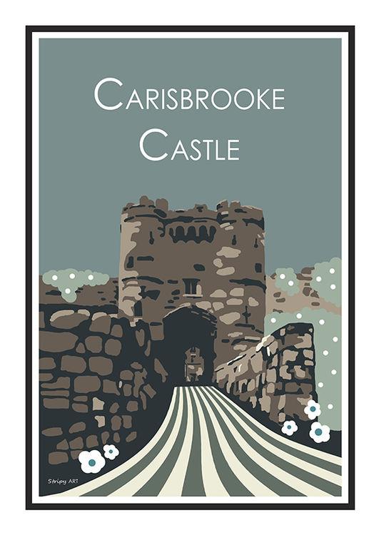 carisbrooke Castle Stripy art Travel poster Isle Of Wight Suzanne Whitmarsh
