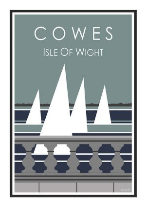 Cowes Sails Stripy art Travel poster Isle Of Wight Suzanne Whitmarsh