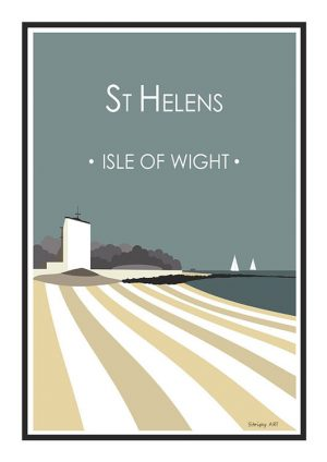 St Helens old church Stripy art Travel poster Isle Of Wight Suzanne Whitmarsh