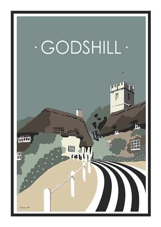 Godshill Stripy art Travel poster Isle Of Wight Suzanne Whitmarsh