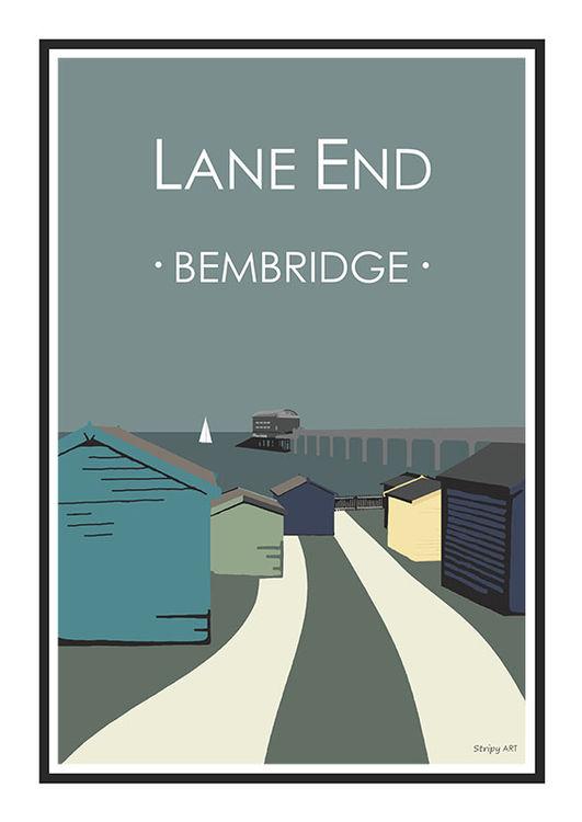 Lane End Bembridge Lifeboat Stripy art Travel poster Isle Of Wight Suzanne Whitmarsh