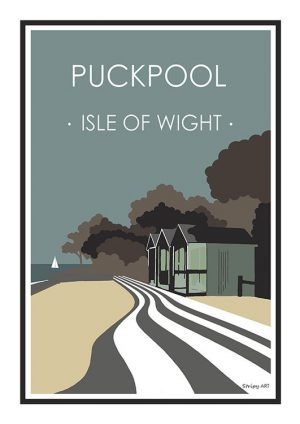 Puckpool Stripy art Travel poster Isle Of Wight Suzanne Whitmarsh