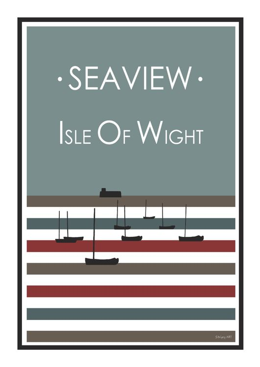 Seaview Stripy art Travel poster Isle Of Wight Suzanne Whitmarsh