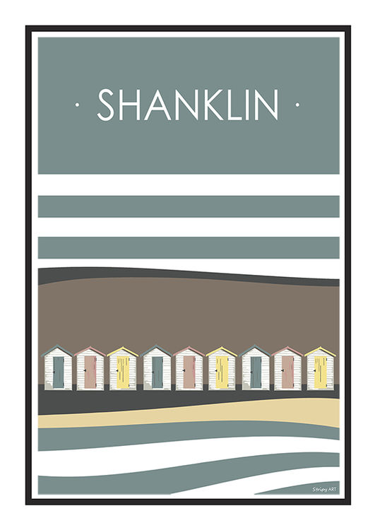 Shanklin Beach huts Stripy art Travel poster Isle Of Wight Suzanne Whitmarsh