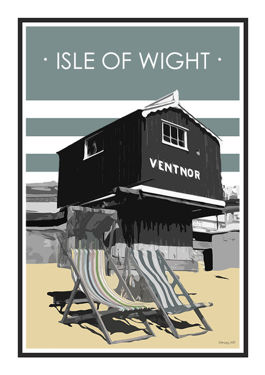 Ventnor Stripy art Travel poster Isle Of Wight Suzanne Whitmarsh