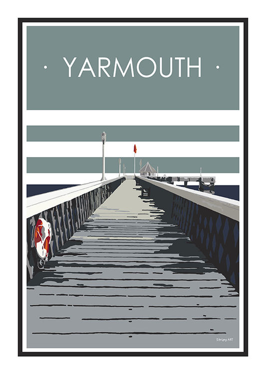 Yarmouth Pier Stripy art Travel poster Isle Of Wight Suzanne Whitmarsh