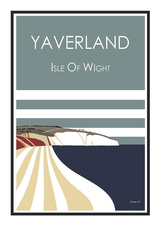 Yaverland Stripy art Travel poster Isle Of Wight Suzanne Whitmarsh
