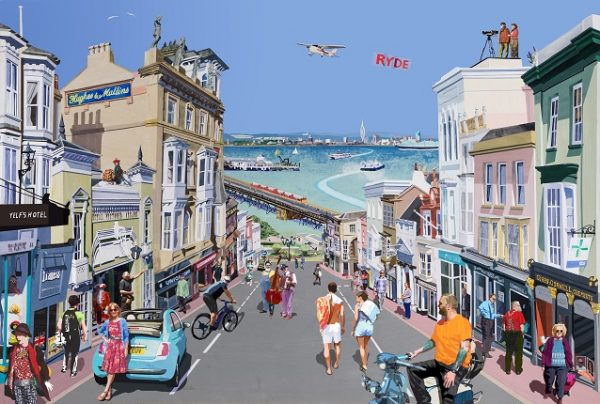 Ryde gateway to the island limited edition print travel poster Isle of Wight union street scooter ryde pier fiat500 Framers Yelfs hotel