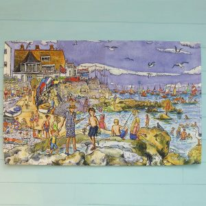 Maria Ward local artist Seaview Teatowel Isle of Wight Quay rocks