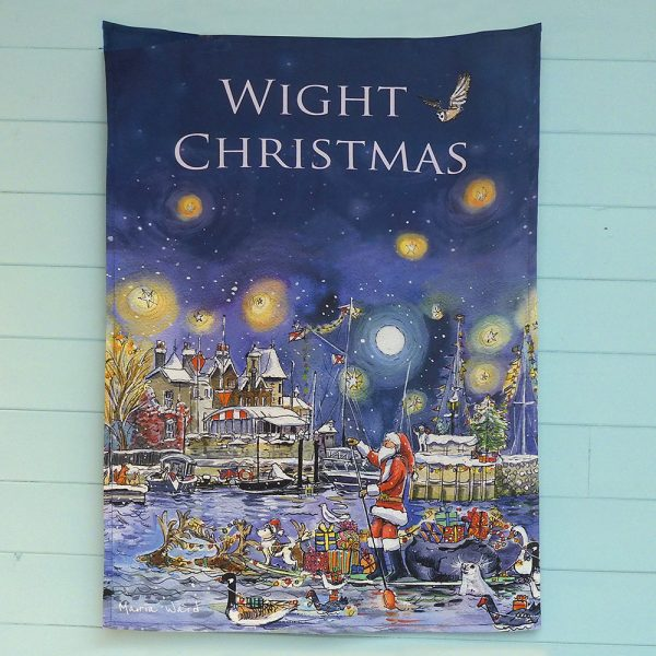 Maria ward local artist wight christmas teatowel father christmas santa cowes isle of wight