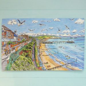 Maria Ward isle of wight artist sandown teatowel sandown pier